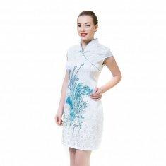 Платье Ципао белое с голубым павлином M