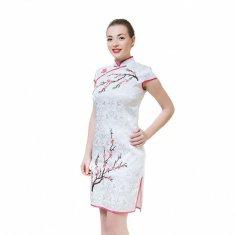 Платье Ципао белое с сакурой  XL