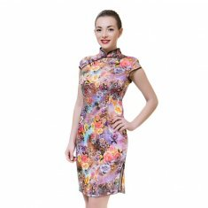 Платье Ципао коричневое с цветами L