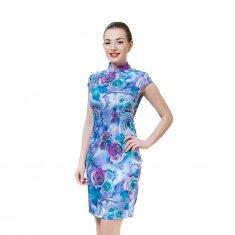 Платье Ципао синее с цветами XXL