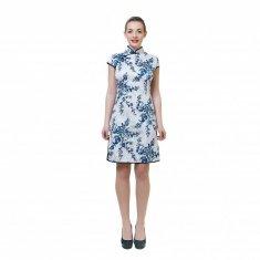 Платье Ципао белое с синими цветами XL