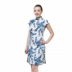 Платье Ципао белое с синими цветами L