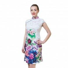Платье Ципао белое с пионами M