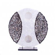 Светильник 35 см.(плафон кругл.) (металл, бамбук, перламутр)