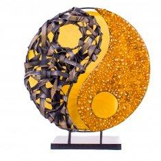 Светильник 35 см Инь-Янь(плафон кругл.) (металл, бамбук, крошк.) в ассорт.