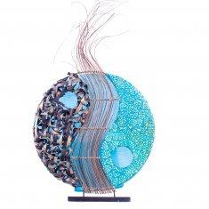 Светильник 35 см. синий (плафон кругл.) (металл, бамбук, крош.)