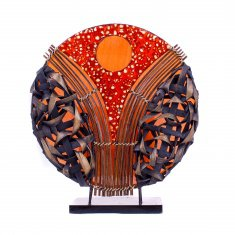 Светильник 45 см.(плафон кругл.) (металл, бамбук, крошк.) в ассорт.