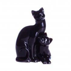"""Статуэтка """"Коты влюбленные мини №1"""" Черные 9 см (гипс)"""
