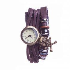 Часы Винтажные d=2.5 см. (бронза, коричневая кожа)(в ассорт.) (уп. 12 шт.)