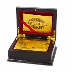 """Карты для игры в покер """"100$"""" золотые в подарочной упаковке (пластик)"""