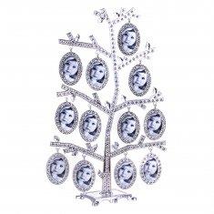 Фоторамка 30 см Семейное дерево на 12 фото (металл, стразы) (кор. 24 шт.)