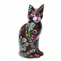 Кошка h=20 см (дерево) (в ассорт.) (коричневая с рисунком)