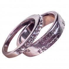 Кольца (набор 2 шт.) (цвет серебро) (размеры:16,17,18,19,20)
