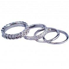 Кольца (набор 4 шт.) (цвет серебро) (размеры:16,17,18,19,20)