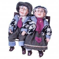Фарфоровые Куклы Бабушка с дедушкой на скамейке