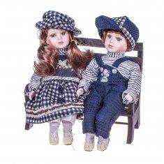 Куклы Мальчик с девочкой на скамейке 35 см. (2 шт.) (керам.) (в ассорт.)