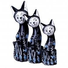 Кошки (набор 3 шт.) h=20,25,30 см Черные с рыбками (дерево)