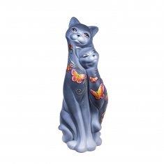 Кошки Свидание серые (бабочки) 42 см (керамика)