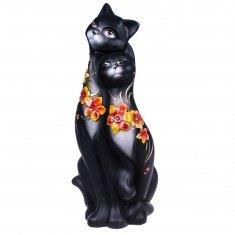 Кошки Свидание черные (цветы) 42 см. (керамика)