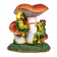 Садовая фигура Лягушки под грибом h=45 см (полистоун)