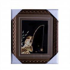 Картина с соломкой 33х37 см. Рыбак