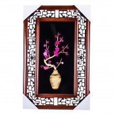 Картина с соломкой 35х55 см. Ваза с сакурой (цв.) (в ассорт.)