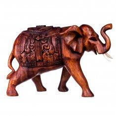 Слон с попоной 15 см. (дерево суар)