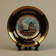 Тарелка 15 см. Углич (черная, фольга) (фарфор) (кор. 36 шт.)