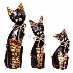 Кошки (набор 3 шт.) h=15, 20, 25 см (в ассорт.) (дерево)