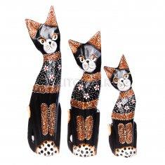 Кошки (набор 3 шт.) h=25,30,35 см. (в ассорт.)дерево албезия)