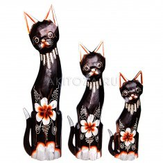 Кошки (набор 3 шт.) h=30, 40, 50 см (в ассорт.) (дерево)