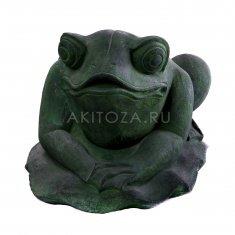 Жаба на листе h=20 см. Зеленая (камень)