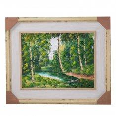 Картина 40x50 см. Река, березовый лес (в ассорт.) (холст, масло)