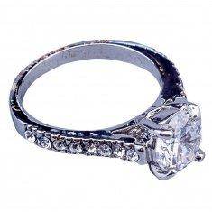 Кольцо (цвет серебро, белый камень, стразы) (размеры:16,17,18,19,20)