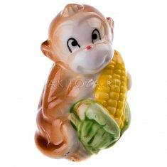 Обезьяна с кукурузой h=7 см. (бежевый) (фарфор)