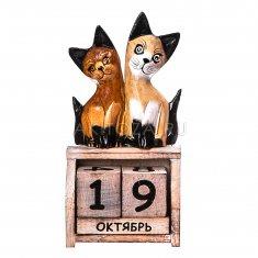 Календарь настольный Кошки h=21 см. (дерево)