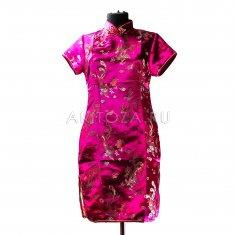 Платье Ципао с драконами и павлинами розовое XL