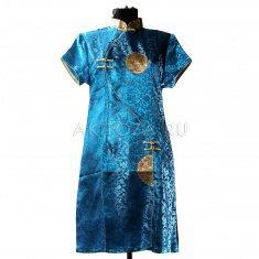 Платье Ципао голубое M