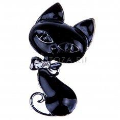 Магнит Кошка с бантом (цвет-серебро) (в уп.12 шт.)