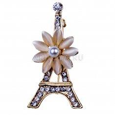 Брошь со стразами Эйфелева Башня Париж (металл)