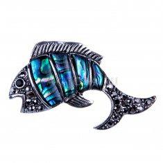 Брошь с перламутром Рыба (металл)