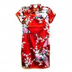 Платье Ципао красное с цветами XXL