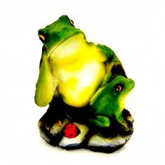 Садовая фигура Лягушка с лягушонком h=30 см. (полистоун)