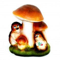 Садовая фигура Ёжики под грибом h=45 см. (полистоун)