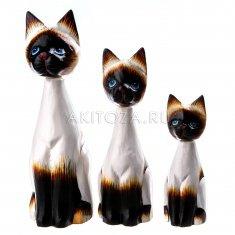 Кошки (набор 3 шт.) h=15, 20, 25 см Сиамские (дерево)