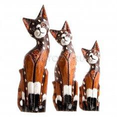 Кошки (набор 3 шт.) h=25, 30, 35 см. (дерево)