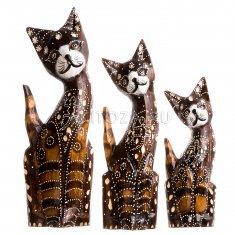 Кошки (набор 3 шт.) h=20, 25, 30 см (дерево)