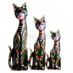 Кошки (набор 3 шт.) h=30, 40, 50 см Чёрные с цветами (дерево)