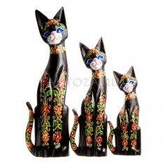 Кошки (набор 3 шт.) h=30, 40, 50 см. Чёрные с цветами (дерево)