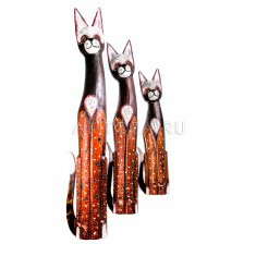 Кошки (набор 3 шт.) h=60,80,100 см (дерево албезия)